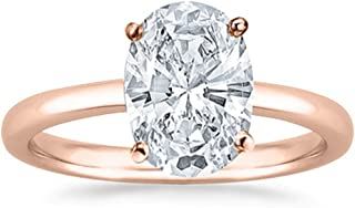 1/2 Carat GIA Certified 14K White Gold Solitaire Oval Cut Diamond Engagement Ring (0.5 Ct I-J Color, VS1-VS2 Clarity)