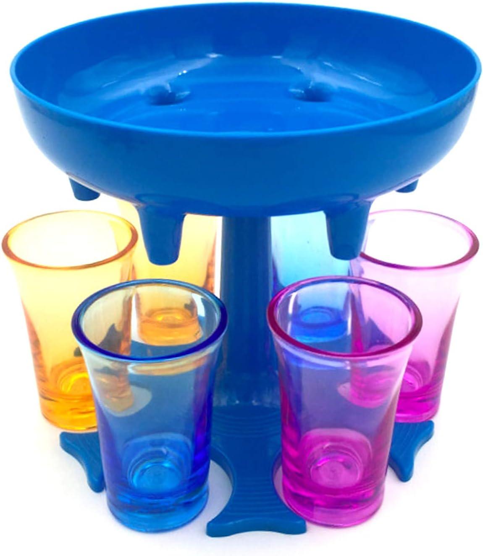 HBBY Soporte dispensador de agua de 6 vasos de chupito de pie con vasos pequeños para barra/fiesta en el hogar, uso azul-sin taza