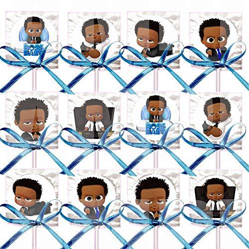 Black Boss Baby Lollipops Party Favors Supplies Decorations Movie Lollipops w/Medium Blue Ribbon Bows -12 pcs, African American