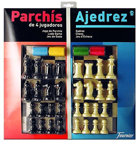 Fournier - Tablero Grande Parchís/Ajedrez y fichas, 40 x 40 cm, para 4 Jugadores (F29469)