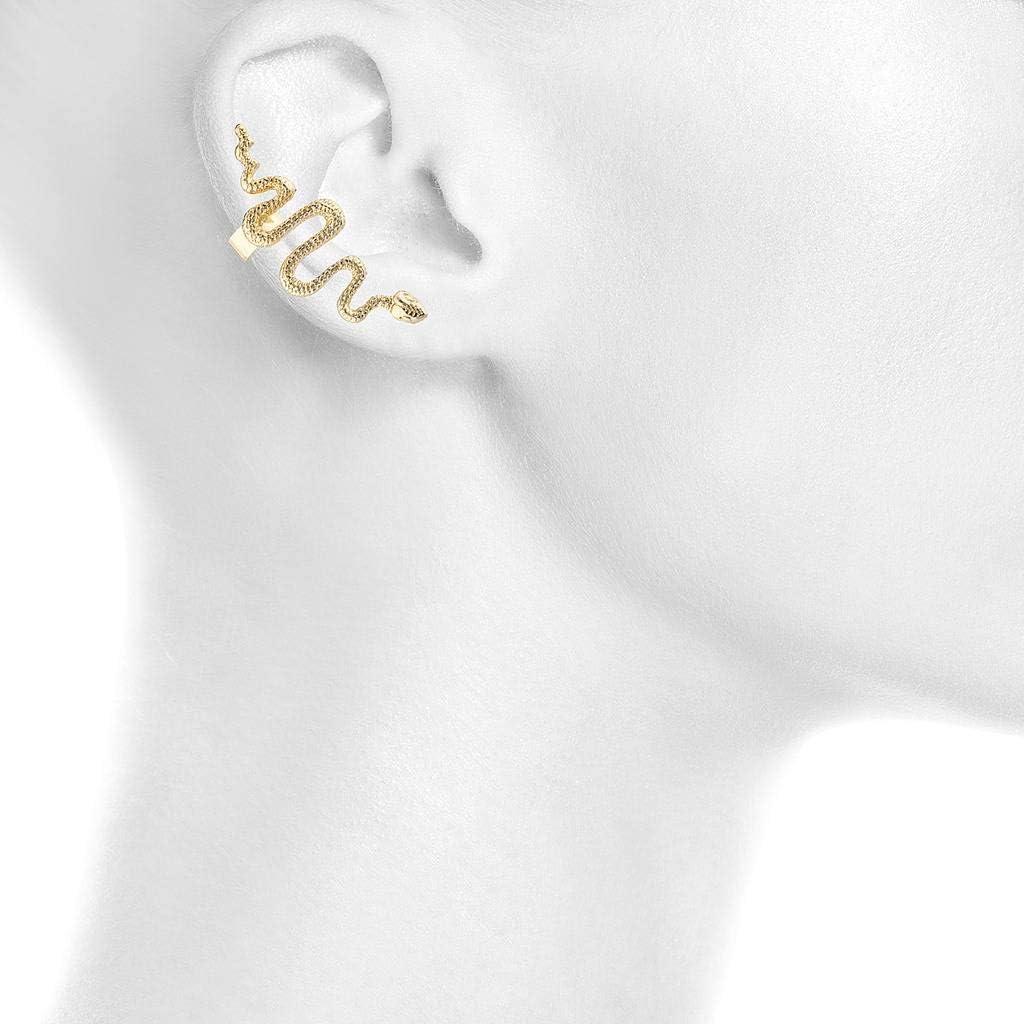 Lux Accessories Gold Tone Snake Serpent Post Stud Ear Climber Ear Cuff Earring