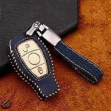 HUAQIANYU Autozubehör Schlüsselschalen , Autoschlüsselabdeckung für Mercedes-Benz C-Klasse W205 C205 A205 S205 MB C180 C200 C300 C250 Edition C63 C43 AMGB Blau
