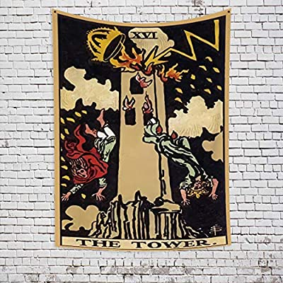 OFila Tarot Tapestry The Tower Tarot Card Mysterious Medieval Europe Divination Tapestry Vintage Style Colored Wall Hanging Tapestry for Home Bedroom Living Room Dorm Decor 39.4x59.1 Inch