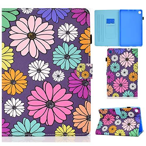 CaseFun Funda para Samsung Galaxy Tab S6 Lite 10.4 P610/P615 Ultra Slim Cover de PU Cuero Smart Case Carcasa con Auto-Sueño/Estela Función Multiángulo, Margarita