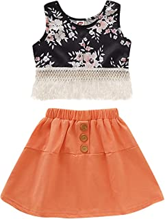 Infant Girls Outfits Set Floral Tassel Crop Tank Tops+Front Button Down Short Mini Skirt