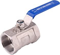 DERNORD Stainless Steel Ball Valve 1PC Type NPT Standard Port for Water, Oil, and Gas (1.5 Inch Ball Valve)