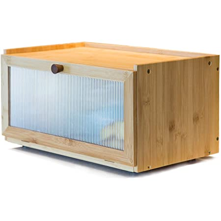 ETMI Bamboo Bread Box for Kitchen Counter-Large Capacity Bread Storage Container Farmhouse Bread Box with Window Bread Holder