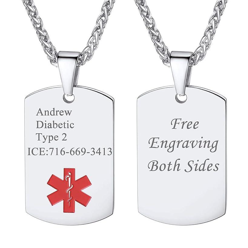 U7 Medical Alert Jewelry Customized Free Engraving Men Women Stainless Steel Black Enamel Medic Condition Tags Pendant for Diabetes Wayfaring Dialysis Stroke Pacemakers