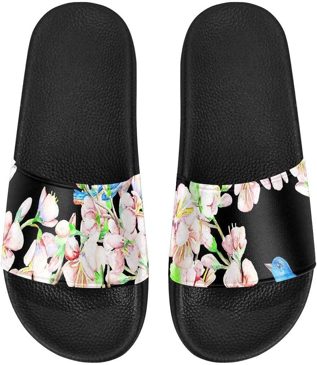 InterestPrint Women's Lightweight Slipper Sandals for Shower Cheery Flower