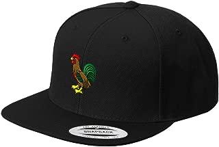 Rooster Style 1 Embroidered Flat Visor Snapback Hat Black