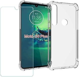 YZKJ Fodral för Motorola G8 Plus Cover hållbar mjuk silikon skyddande skydd TPU skal fodral pansarglas skärmskydd för Moto...