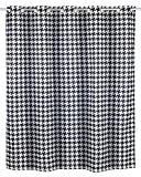 WENKO Anti-Schimmel Duschvorhang Fashion Flex - Anti-Bakteriell, wasserabweisend, Textil, waschbar, schimmelresistent mit integrierter Hängeeinrichtung, Polyester, 200 x 180 cm, Schwarz