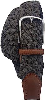 ESPERANTO Cintura extra lunga intrecciata in cotone – morbida e leggera,finiture cuoio e fibbia nichel free -unisex 3,5 cm...