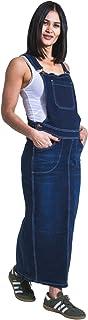 USKEES KAREN Long Maternity Pinafore Darkwash Denim Pregnancy Maxi Dress Adjusta