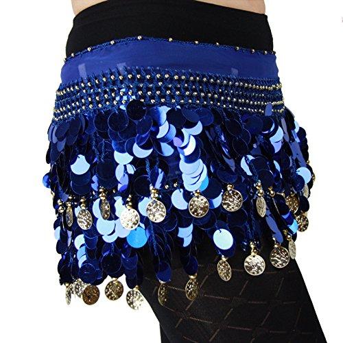 Chiffon Paillette buik dans Hip sjaal, donkerblauw, een maat