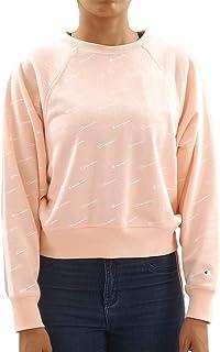Champion 111277 PL018IMP/ALLOVER CHP6059 Women's Crewneck Crop Top, Medium, Pink