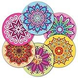 Etichette adesive Mandala – Confezione da 120 adesivi rotondi grandi da 5,1 cm per muro computer portatile, bottiglie d'acqua, biglietti di auguri, buste regalo