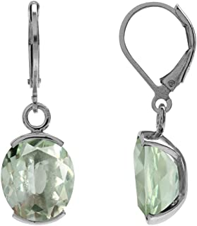7.66ct. Natural Green Amethyst White Gold Plated 925 Sterling Silver Leverback Dangle Earrings