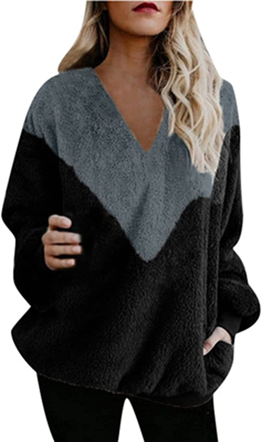 Womens Tops V-Neck Fleece Pullover Print Max 84% OFF Colorblock Sw Oversized Selling and selling