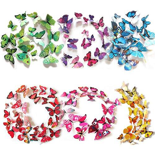 Haimoburg 72 Stück 3D Schmetterling Aufkleber Wandsticker Wandtattoo Wanddeko für Wohnung, Raumdekoration Klebepunkten+ Magnet (72 Stück in 6 Farbe 12 Gelb+12Grün +12 Lila +12 Rosa +12 Blau+12 Rot)