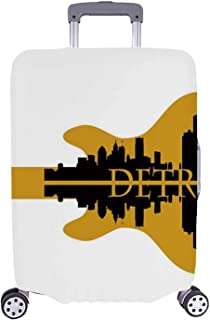 Detroit Decor Simple Luggage Cover,High Rise Buildings Silhouette Reflection Electric Guitar Instrument Music Decorative for Home,M