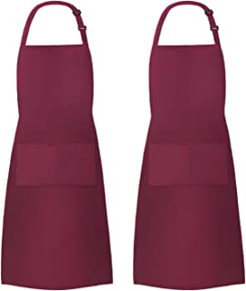 InnoGear 2 Pack Unisex Adjustable Bib Apron with 2 Pockets Cooking Kitchen Chef Women Men Aprons for Home Kitchen, Restaurant, Coffee house (Red Polyester)