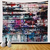 Sinsoledad Abstract Tapestry Wall Art, Trippy Graffiti Wall Hanging, Psychedelic Rock Tapestry Home Decor, Cool Hippie Tapestry for bedroom aesthetic, Vintage Anime Tapestry, 59x51 Inches