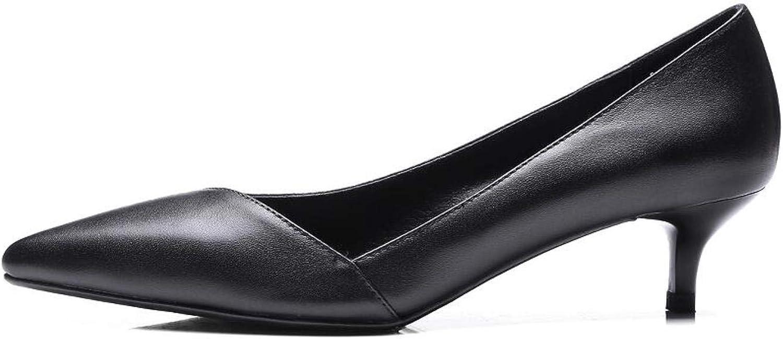 Äkta läderpumpskor för kvinnor, lägre lägre lägre klackar, fyrcm Slip -on  försäljning