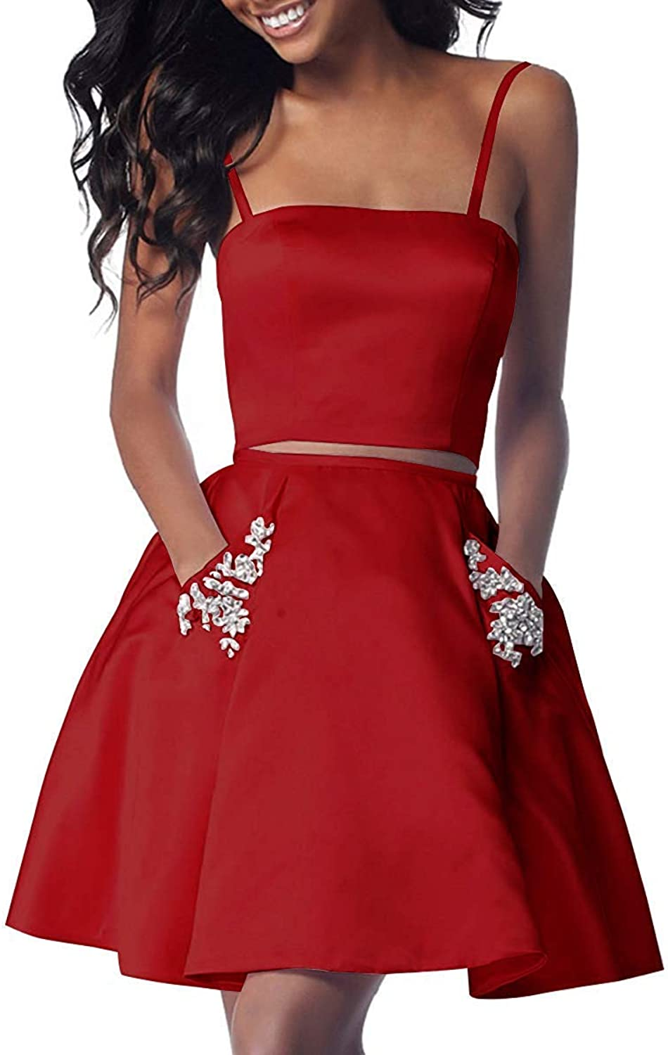 Orcle 2 Piece Short Homecoming Dresses with Pockets Satin Beaded Prom Dress