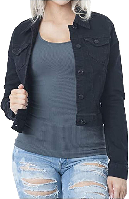 Black Jean Jacket Womens Casual Long Sleeve Cardigan Jacket Lady Coat Jumper Slim Coat