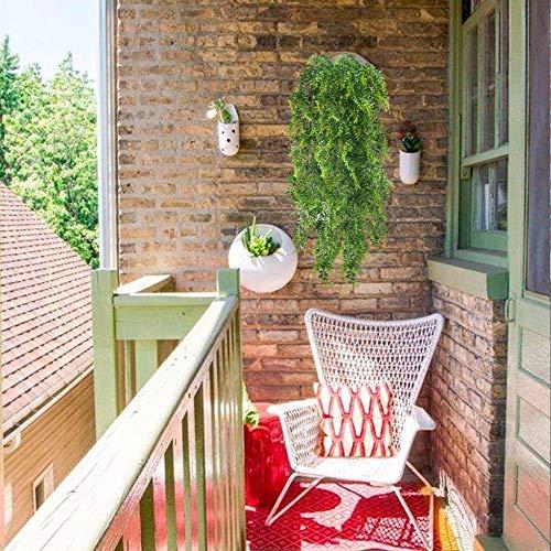 HUAESIN 2pcs Künstliche Hängepflanzen Lang Persischer Farn Kunstpflanze Hängend Plastikpflanzen Künstliche Pflanze Efeu Groß Grünpflanzen für Innen Außen Balkon Wand Topf Garten Deko 115cm - 6