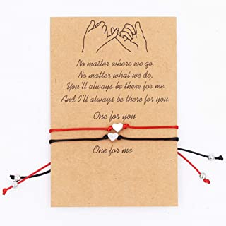 REYOK 6 Piezas Pulsera de Cuerda de Corazón para Mujeres Niñas Pareja Sencillo Amor Corazón Ajustable Pulsera de Cuerda,Fi...