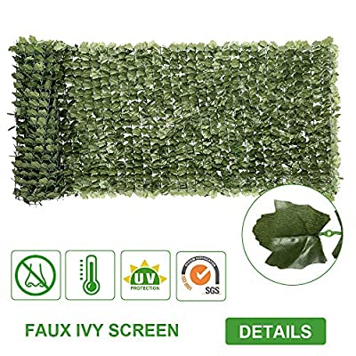 "VINGLI Artificial Hedges Faux Ivy Leaves Fence, Decorative Trellis Privacy Screen Mesh, for Outdoor Decor, Garden, Yard (39""x119"")"