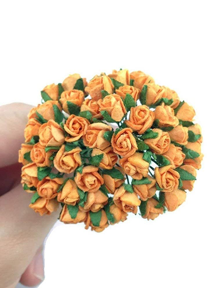 50pc Bright Orange Artificial Flowers Paper Rose Flower Wedding Card Embellishment Scrapbook Craft -F002
