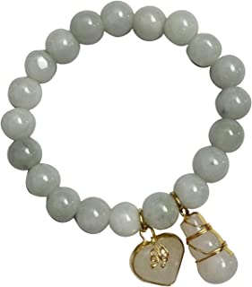 10 mm Natural Light Green Jade Round Real Bracelets for Women Energy Charms with Promote Love Heart and Gourd Powerful Tha...