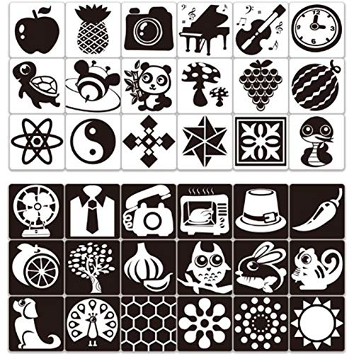 AMACOAM Schwarz Weiß Blitz Karten Baby Schwarz Weiß Flash Karten Kontrast Flash Karten 72 Bilder Kleinkind-Baby Flash Cards für Neugeborene Kinder Visuelle Stimulation 5,5 x 5,5 Zoll 36 Stücke