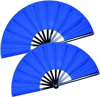 HONSHEN 2 Pack Large Folding Hand Fan, Blue Chinese Kung Fu Tai Chi Fan Nylon-Cloth Fan for Men and Women Performance, Dan...