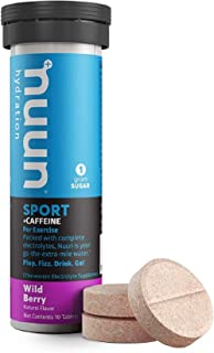 Nuun Sport + Caffeine: Electrolyte Drink Tablets, Wild Berry,10 Count (Pack of 1)
