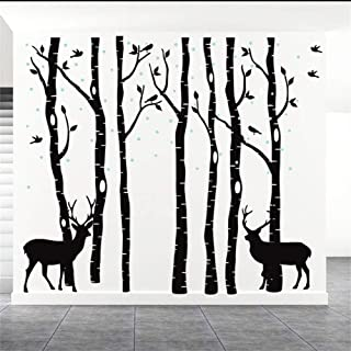 Fymural Forest and Deers Tree Wall Stickers Art Mural Wallpaper for Bedroom Kid Baby Nursery Vinyl Removable DIY Decals 82.7x70.9,Black