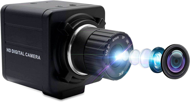 SVPRO 1080P Full HD Mini USB Web Camera 2MP CMOS OV2710 4mm Manual Focus Lens CS Mount Camera High Frame Rate 30fps/60fps/100fps USB Camera Desktop for Linux Windows Android, Plug and Play