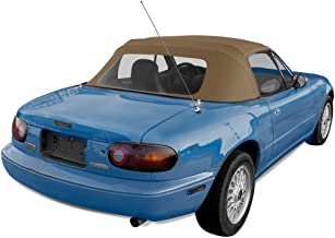 Sierra Auto Tops Convertible Soft Top Replacement, compatible with Mazda Miata MX5 1990-2005, w/Plastic Window, Cabrio Vinyl, Tan