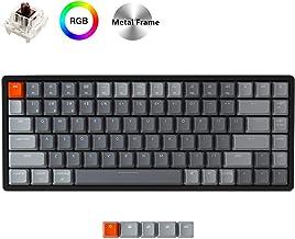 Keychron K2 Wireless Bluetooth/USB Wired Gaming Mechanical Keyboard, Compact 84 Keys RGB LED Backlit N-Key Rollover Aluminum Frame for Mac Windows, Gateron Brown Switch, Version 2