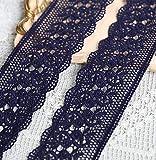 Laliva 2 Meters Navy Blue Color Lace Trim 100% Cotton Embroidery Lace Applique Trims DIY Lace Fabric Clothing Accessories