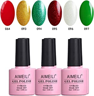 AIMEILI Soak Off UV LED Shimmer Gel Nail Polish Multicolour/Mix Colour/Combo Colour Set Of 6pcs X 10ml - Kit 26