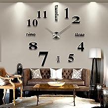 Modern Frameless Large Mute 3D Sticker DIY Wall Clock Kit Decoration Home for Living Room Bedroom Home Office Decor Black ...