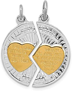 Beautiful Sterling silver 925 sterling Sterling Silver Rhodium-plated & Gold-plated Polished Mizpah 2-piece Pendan