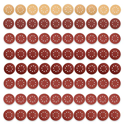 JELLAS 80 Stück 125 mm Schleifscheiben, 10x Professionelle Klett-Schleifpapier mit Verschmutzungsschutz und 70x Holzschleifpapiere für Makita, Bosch, DeWalt, Ryobi und VonHaus Exzenterschleifer