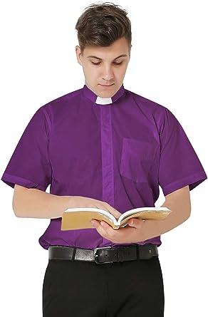 IvyRobes Camisa de Cura Clerical de Manga Corta para Hombre Camisa Alzacuellos Cuello con Pestañas Clero Sacerdote Disfraz
