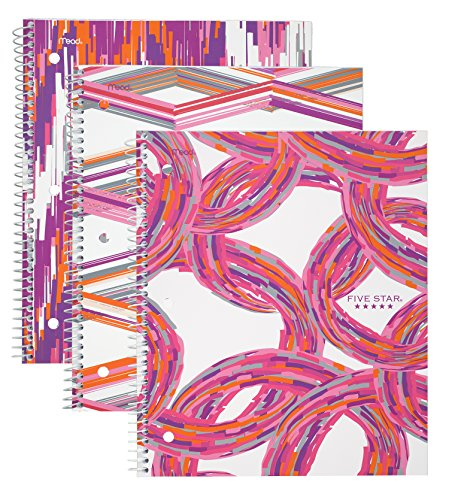 """Five Star Spiral Notebook, 1 Subject, College Ruled Paper, 100 Sheets, 11"""" x 8-1/2"""" Sheet Size, Assorted Warm Designs, 3 Pack (38773)"""