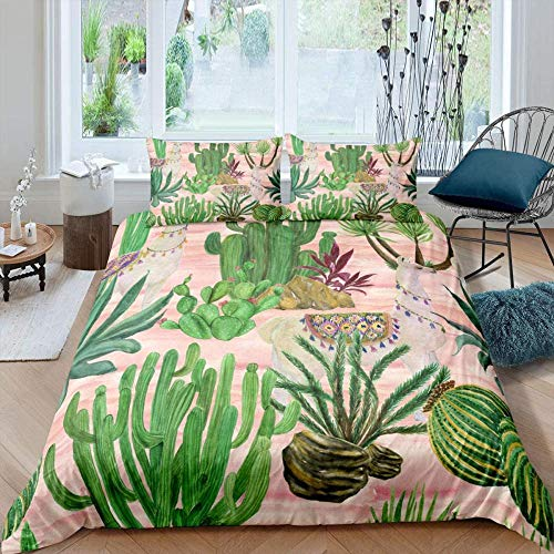 RONGXIE 3D Printed Duvet Cover With 2 Pillowcases Tropical Plant Cactus Wildlife Camel - Super King (260 X 230 Cm) - Bedding Set With Zipper Closure Hypoallergenic Soft Microfiber Quilt Cover Set Do